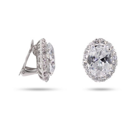 Red Carpet Style Oval CZ Clip-On Earrings | Eve's Addiction®