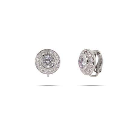 display slide 1 of 1 - Brilliant Cut CZ Sterling Silver Clip-On Earrings - selected slide