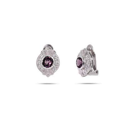 Amethyst CZ Sterling Silver Clip-On Earrings | Eve's Addiction®