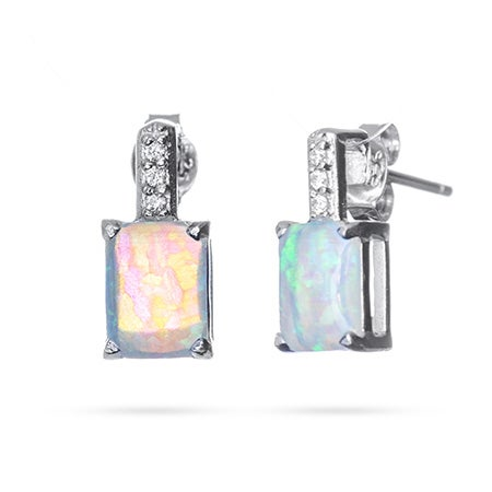 Rectangle Opal Drop Stud Earrings | Eve's Addiction®