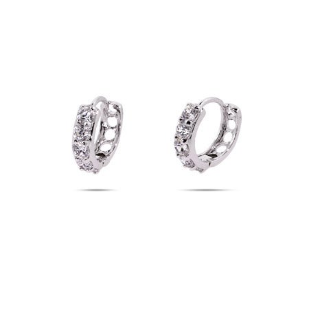 Five Stone Brilliant Cut CZ Huggie Earrings | Eve's Addiction®