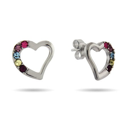 5 Stone Austrian Crystal Birthstone Sterling Silver Heart Stud Earrings | Eve's Addiction®