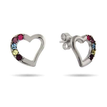 Austrian Crystal Five Birthstone Silver Heart Stud Earrings