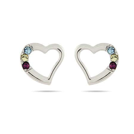 3 Stone Austrian Crystal Birthstone Heart Studs