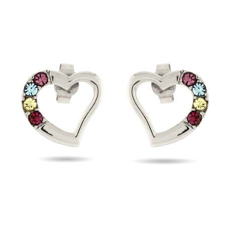 display slide 1 of 3 - Sterling Silver Austrian Crystal 4 Birthstone Heart Studs - selected slide