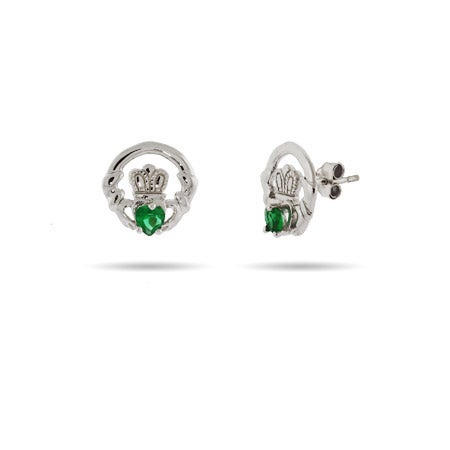 Sterling Silver Claddagh Stud Earrings with Green CZ