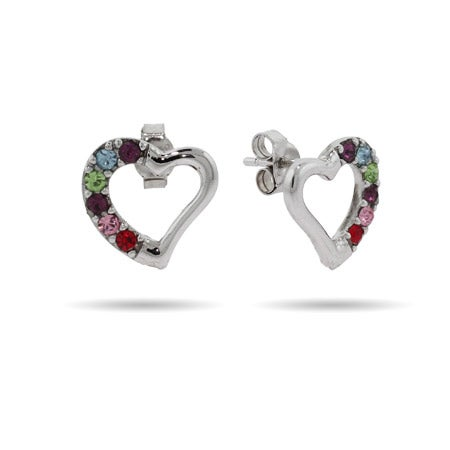 6 Stone Sterling Silver Austrian Crystal Birthstone Heart Studs | Eve's Addiction®