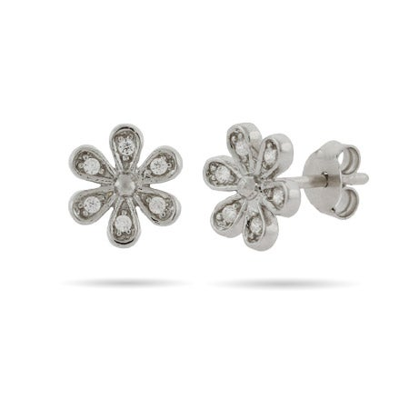 Sterling Silver and CZ Daisy Flower stud earrings | Eve's Addiction®