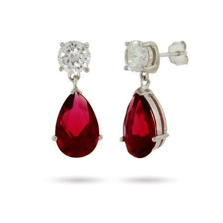 Sterling Silver Ruby CZ Peardrop Earrings | Eve's Addiction®