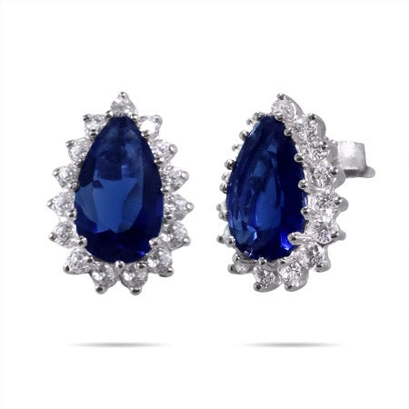 Royalty Inspired Sapphire Pear Cut CZ Studs | Eve's Addiction®