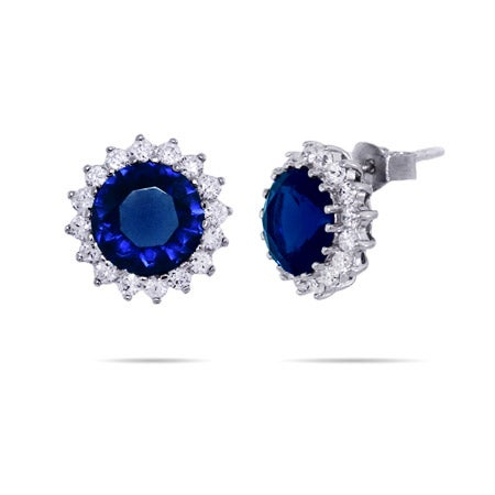 Royalty Inspired Round Sapphire CZ Studs | Eve's Addiction®