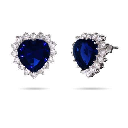 Movie Inspired Petite Heart of the Ocean Sapphire CZ Studs | Eve's Addiction®