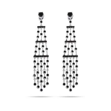 Five Strand Silver and Black CZ Chandelier Earrings   Eve's Addiction®