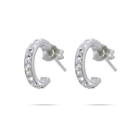 Petite Sterling Silver Swarovski Crystal Hoops | Eve's Addiction®