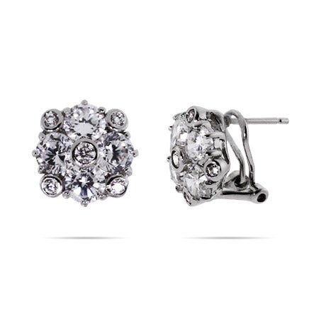 Designer Style CZ Cluster Flower Earrings | Eve's Addiction®