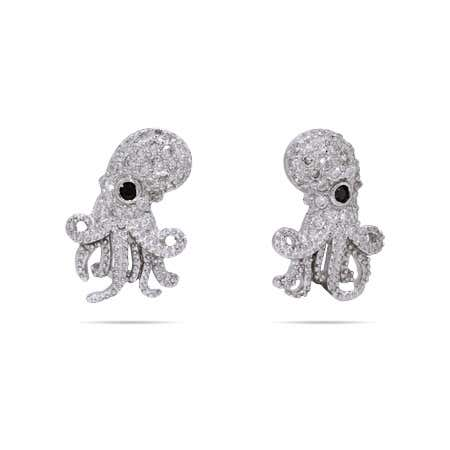 display slide 1 of 1 - CZ Octopus Earring Studs | Octopus Studs - selected slide
