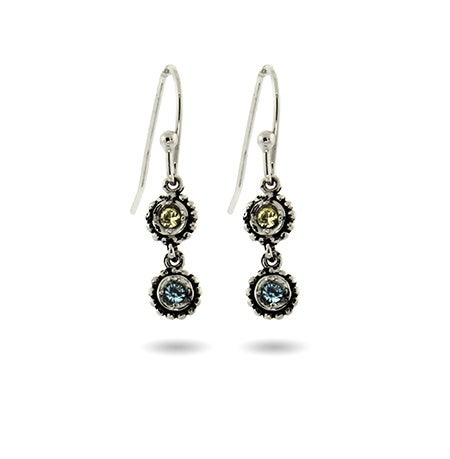 2 Stone Custom Birthstone Sterling Silver Dangle Earrings | Eve's Addiction®