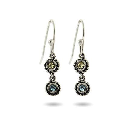 2 Birthstone Sterling Silver Dangle Earrings
