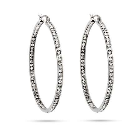 "2"" Inside Out CZ Hoop Earrings 