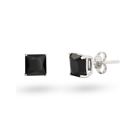 6mm Princess Cut Onyx Black CZ Stud Earrings in Sterling Silver | Eve's Addiction®