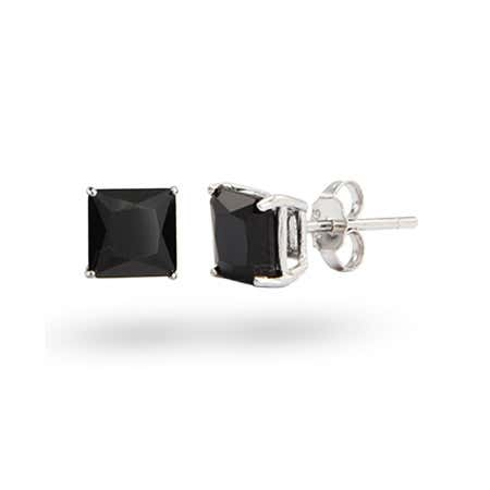 Princess Cut 8mm Black CZ Studs in Sterling Silver | Eve's Addiction®