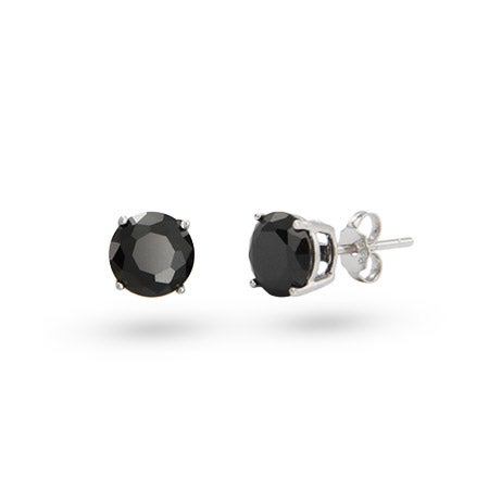 Sterling Silver 6mm Round Black Cubic Zirconia Studs | Eve's Addiction®