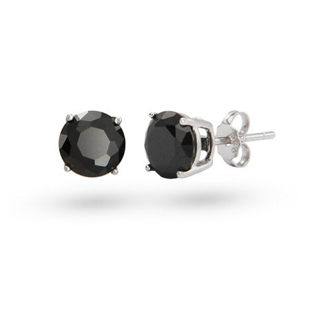 8mm Round Black CZ Studs in Sterling Silver | Eve's Addiction®