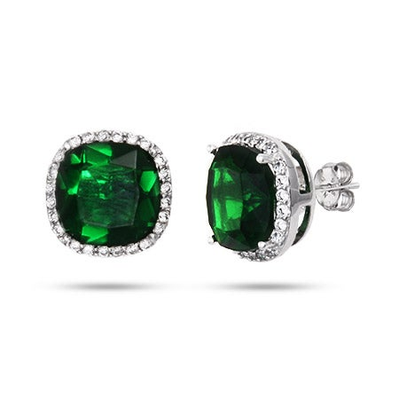 Cushion Cut Emerald Green CZ Stud Earrings in Sterling Silver | Eve's Addiction®