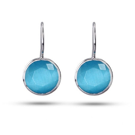 Sterling Silver Faceted Blue Chalcedony Gemstone Earrings | Eve's Addiction®