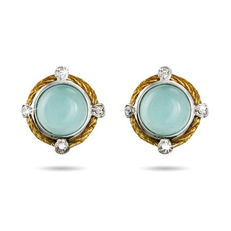 Vintage Design Aqua Chalcedony Gemstone Earrings | Eve's Addiction®