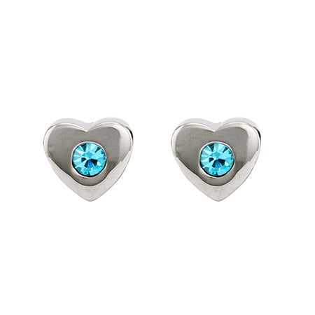 Custom Austrian Crystal Birthstone Heart Stud Earrings | Eve's Addiction®