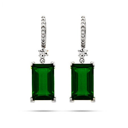 Dazzling Emerald Green Emerald Cut Sterling Silver Dangle Earrings | Eve's Addiction®
