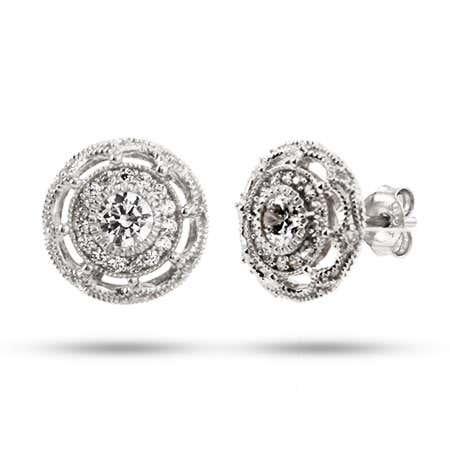 Vintage Flower Design CZ Stud Earrings | Eve's Addiction®