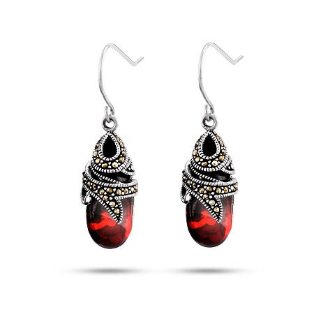 Marcasite Garnet Glass Drop Earrings in Sterling Silver | Eve's Addiction®
