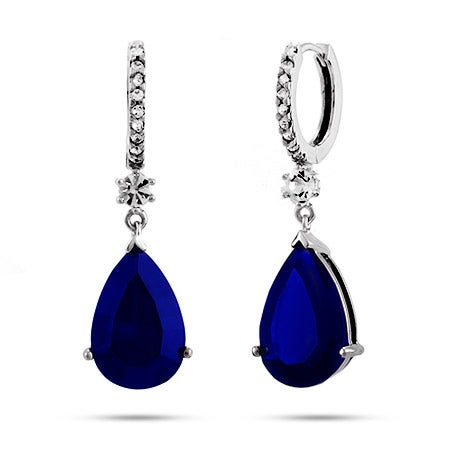 Dangling Peardrop Midnight Sapphire CZ Huggy Earrings | Eves Addiction