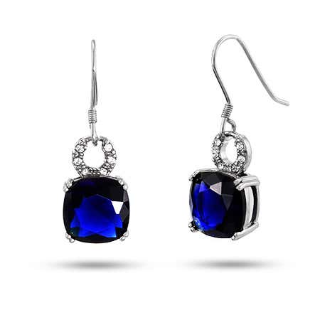 Cushion Cut Sapphire CZ Dangle Earrings in Sterling Silver | Eve's Addiction®