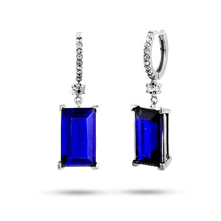 Midnight Emerald Cut Sapphire CZ Dangle Earrings in Sterling Silver | Eve's Addiction®