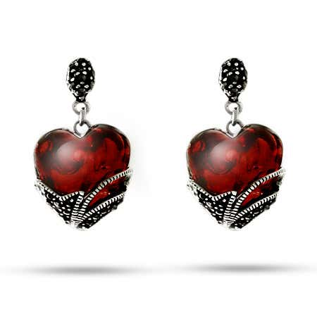 Vintage Style Garnet Glass Heart Marcasite Earrings