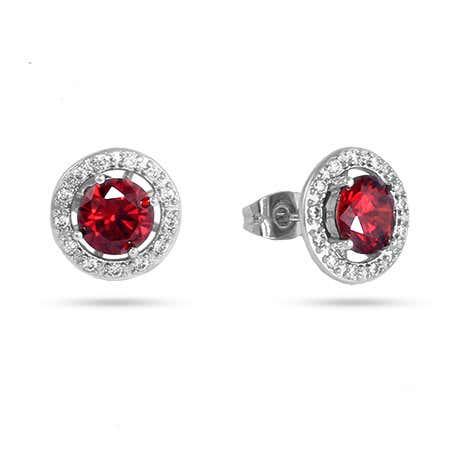 Ruby and Diamond CZ Halo Earrings | Eve's Addiction®