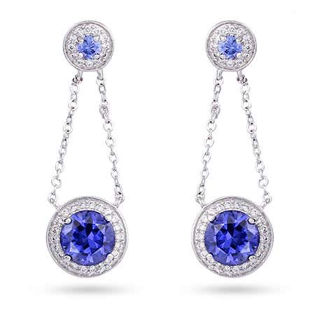 Sterling Silver Chain Link Tanzanite Drop Earrings | Eve's Addiction®