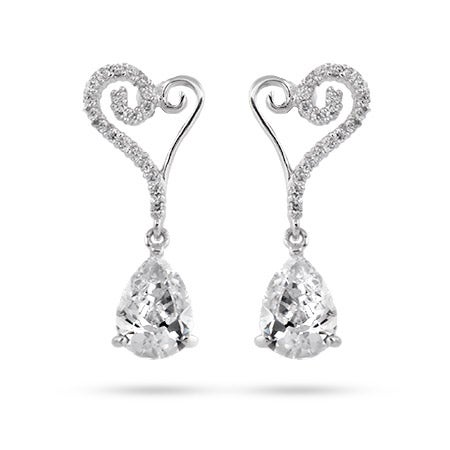 Heart and Peardrop Sterling Silver CZ Earrings | Eve's Addiction