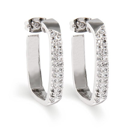 Sterling Silver Pave Cushion Shaped Hoop Earrings | Eve's Addiction
