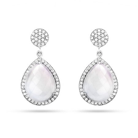 Sterling Silver Moonstone Quartz CZ Peardrop Earrings | Eve's Addiction®