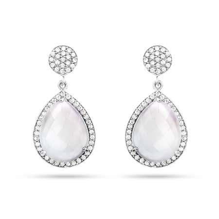 Sterling Silver Moonstone Quartz CZ Peardrop Earrings   Eve's Addiction®
