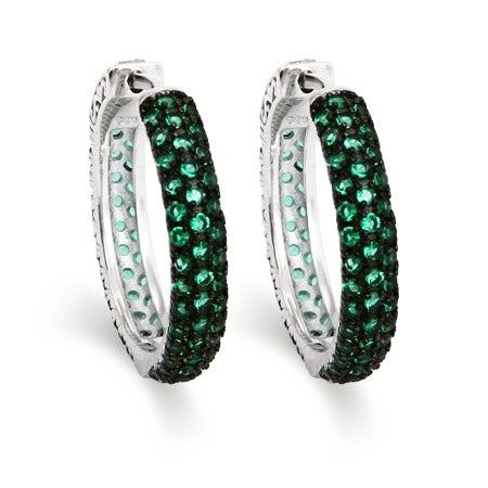 Dazzling Pave Emerald Green CZ Sterling Silver Hoops | Eve's Addiction®