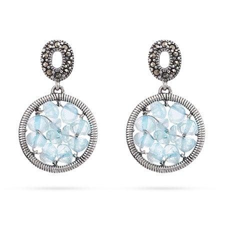 Genuine Aquamarine Beaded Round Earrings | Eve's Addiction®