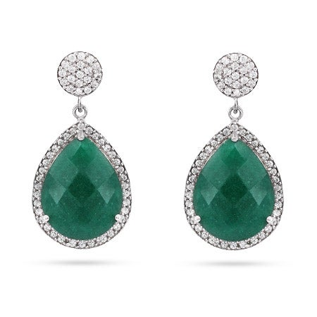Green Quartz Pear Drop CZ Earrings | Eve's Addiction®