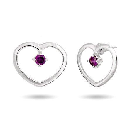 Birthstone Heart Prong Set Silver Earrings