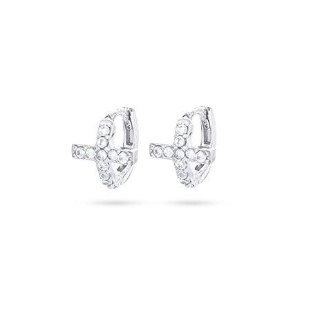 Petite CZ Sideways Cross Huggie Earrings | Eve's Addiction®