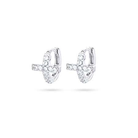 Petite CZ Sideways Cross Huggie Earrings | Eve's Addiction®